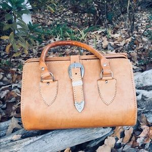 Vintage British tan leather doctor bag handbag